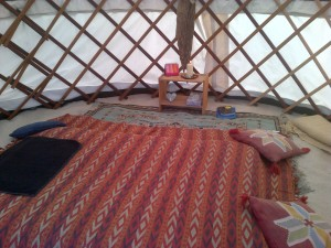 inside yurt at farm